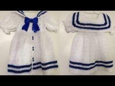 Crochet Toddler, Crochet Kids Hats, Crochet Girls, Moda Crochet, Play Clothing, Crochet Baby Dress Pattern, Doll Dress Patterns, Crochet Doll Clothes, Baby Cardigan