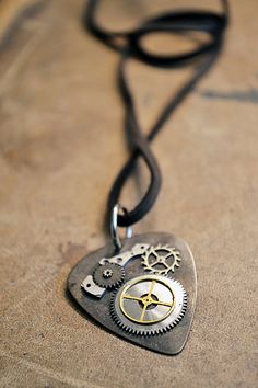 Steampunk Guitar Pick Necklace  Metal Guitar Pick  by Keytiques