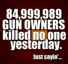 OTAY. BUT WHY DO 84 MILLION AMERICANS NEED GUNS? AND NOBODY NEEDS MILITARY HARDWARE UNLESS THEY ARE IN A MILITARY OR PARA-MILITARY FORCE.