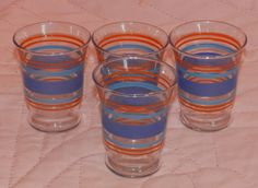 """1950's Libbey Juice Glasses Stripes Fluted Top  Marked 3"""" #Libbey #FlutedJuiceGlasses $15.00 OBO + $6.50 Shipping"""