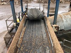 An ElectroMax Overband Magnet is replacing this permanent design in a cross-belt orientation to drastically improve the separation of ferrous metal from recycled wood. Recycling Plant, Recycled Wood, Railroad Tracks, Magnets, Oriental, Belt, Metal, Design, Belts