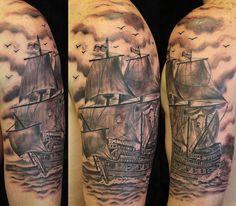 Black and Grey Schooner Tattoo