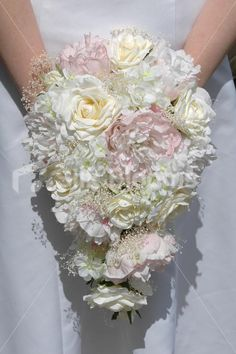 Vintage Style Pink & Ivory Peony and Rose Bridal Wedding Bouquet