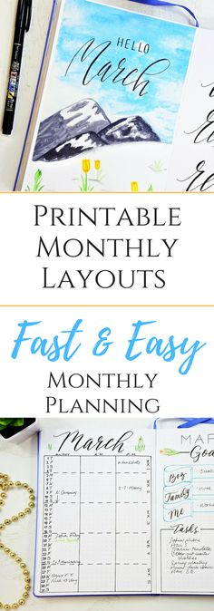 Bullet journal monthly layouts for March. #bulletjournalmonthlylog #bulletjournaling #printable