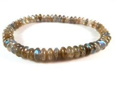 Labradorite Stretch Bracelet Natural Smooth by SandiLaneFineArt - I'm wearing this one daily right now!!!