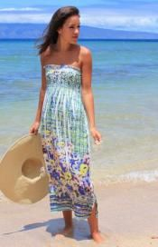 Strapless Green Sublimation Dress
