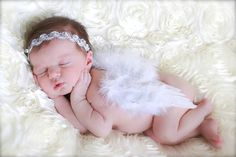 The Natalie - Soft White Angel Feathered Wings and Matching Jeweled Halo Set - Perfect Newborn Photo Prop on Etsy, $28.00