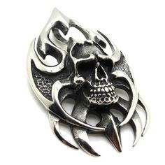 flame skull fiend 316L stainless steel Men's Pendant - $79nok (free)