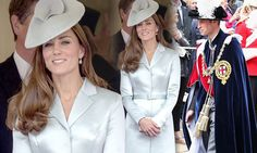 Prince William steals glance at Kate, Duchess of Cambridge, at Order of the Garter service | Mail Online / June 16, 2014 http://www.dailymail.co.uk/femail/article-2658933/Queen-royal-family-don-velvet-robes-hats-annual-Order-Garter-service.html