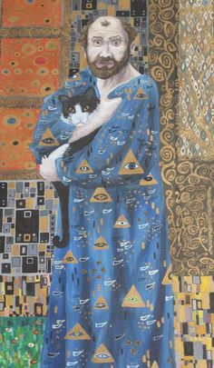 Born in 1862 painter Gustav Klimt and his cat