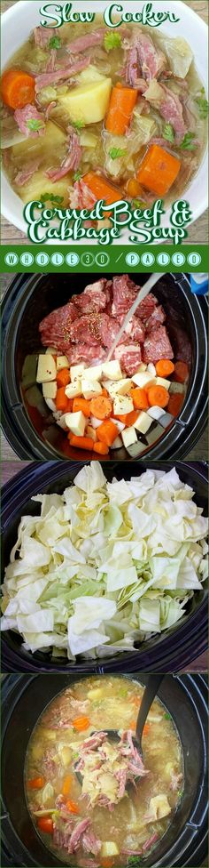 Slow cooker crock-pot whole30 paleo - This healthy version of corned beef and cabbage soup is not only whole30 and paleo compliant but cooks in just a few hours time.