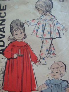 vintage 1960s advance toddlers PAJAMAS nightgown sewing pattern SIZE 1 sweet retro sleepwear ROUND yoke. via Etsy.