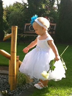 White Flower Girl Dress - Matte Satin Bodice Rose Bud