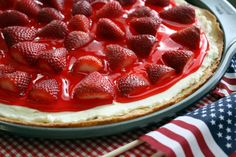Strawberry Dessert Pizza.  Could add blueberries w/or w/out blueberry glaze too for a red, white & blue fruit pizza.