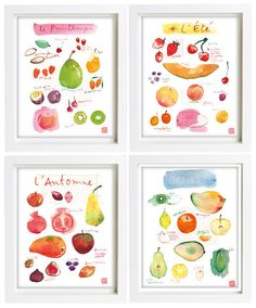 Kitchen art print Set of 4 posters Seasonal fruit 8X10 Food artwork Colorful home decor Watercolor painting on Etsy, $117.00
