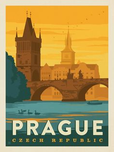 Anderson Design Group – World Travel – Czech Republic: Prague Sunset Anderson Design Group – World T Illustrations Vintage, Illustrations And Posters, Art Deco Posters, Poster Prints, Pinturas Disney, Reisen In Europa, Travel Wall, Travel Illustration, Vintage Travel Posters