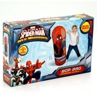 """Spider-man Bop Bag Take a swing at Spiderman with our 42"""" bop bag. Its lots more fun than a pillow fight! Everyone will love it! You can't knock it down! Play anywhere - great inside or out! It has a weighted base for spring-back action! The 42-inch Bop Bag is made of super heavy-duty vinyl for rugged durability. It must be inflated to maximum capacity for proper function Age 3+ www.kidswoodentoyshop.co.uk"""