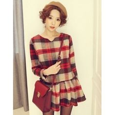 Trendy & Pretty V-neck Plaid Pleated Waist Shaping Mixed Colored Long Sleeve Dress