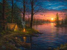 Abraham Hunter Art - Amazing artist/painter - I first saw his work in a Thomas Kinkade Gallery in Pigeon Forge & Gatlinburg, TN. Landscape Art, Landscape Paintings, Oil Paintings, Thomas Kinkade Art, Thomas Kinkade Puzzles, Kinkade Paintings, Image Deco, Art Thomas, Pictures To Paint