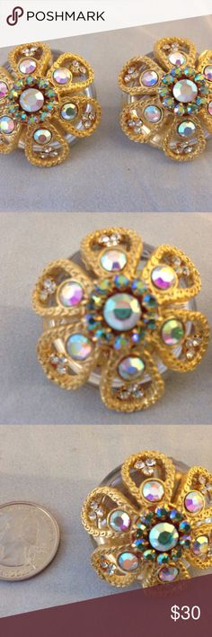 Medallion Clip Statement Earrings Rhinestone Bling Medallion Rhinestone Clip Statement Earrings Flower Design Mirrored Back   Gentle clip. Looks as if it never worn.  Make a statement!  Vintage from the 80s – 90s. From the estate of a lover of all kinds of jewelry. Unknown Jewelry Earrings