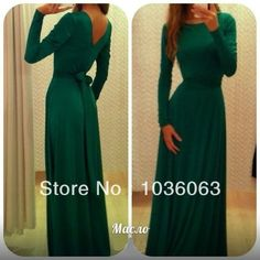 2014 Facebook Trends Long Sleeve High Neck Emerald Green Back Open Evening Dresses Special Women Event Prom Gowns 2014