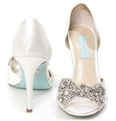 """Diamond"" bow and a tiffany blue sole.  Utterly glam. Love these wedding shoes!"