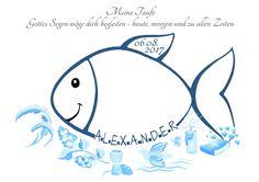Baby- & Geburtskarten - Fingerabdruck Fisch Taufe Geschenk Deko Gästebuch - ein Designerstück von Grimmling-Fingerprints bei DaWanda