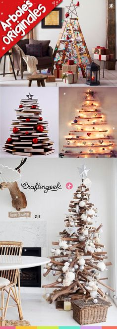 Ideas originales para hacer tu propio árbol de navidad #navidad Christmas Tree Design, Christmas Crafts For Kids, Xmas Tree, White Christmas, Christmas Decorations, Christmas Ornaments, Holiday Decor, Decoracion Navidad Diy, Little Cottages