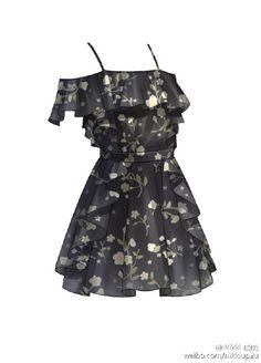 Robe d'été à brettelles noire et à motifs floraux