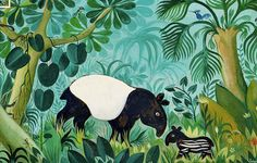 Jungle and animals paintings by Danish Hans Scherfig