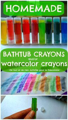De tout et de rien: Activités pour le Préscolaire: Homemade retractable bathtub crayons and/or watercolor crayons - Recette de crayons rétractables pour le bain et/ou crayon aquarelle