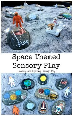 Themed Sensory Tray Spaces Themes Activities for Kids. Moon Activities for Kids Space Week featuring Safari Ltd toys!Spaces Themes Activities for Kids. Moon Activities for Kids Space Week featuring Safari Ltd toys! Planets Activities, Space Activities For Kids, Space Preschool, Sensory Activities, Toddler Activities, Outer Space Crafts For Kids, Childcare Activities, Toddler Themes, Outer Space Theme
