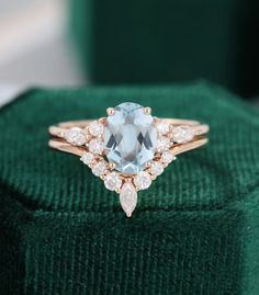 Oval Aquamarine engagement ring set vintage Unique Marquise cut diamond Cluster engagement ring rose gold Moissanite wedding gift for women Diamond Cluster Engagement Ring, Dream Engagement Rings, Alternative Engagement Rings, Engagement Ring Settings, Vintage Engagement Rings, Wedding Rings Simple, Wedding Rings Vintage, Wedding Band, Wedding Gifts For Women