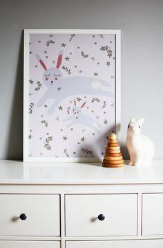 Sweet rabbits - poster for kids room