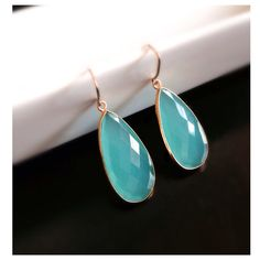 Aqua Blue Chalcedony Earrings, Gemstone Earrings, Dangle Earrings on Etsy, $72.00