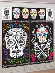 """5 decoraciones murales fiesta de los muertos mejicana: Estos murales """"calavera"""" representan calaveras floreadas.Los dos posters más grandes miden 82 x 149 cm. Uno representa un cráneo y el otro deja ver el busto y un brazo.Incluye..."""