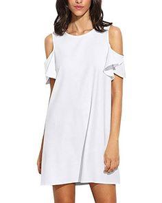Milumia Women's Summer Cold Shoulder Ruffle Sleeves Shift Dress White M 696596483534 Cheap Dresses, Casual Dresses For Women, Short Dresses, Clothes For Women, Daily Dress, Straight Dress, Urban Dresses, White Mini Dress, Tee Dress