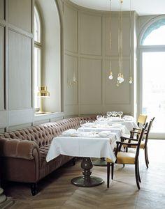 Matsalen restaurant at the Grand Hotel Stockholm, Sweden. Interior design by Ilse Crawford. Same giant sofa~! <3