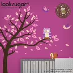 Mural inspiration-Tree Wall Stickers - Owl and Tree Wall Decal - Children Wall Murals - Nursery Wall Art- Modern Nursery - Tree Decal - Kids Wall Art -0075