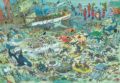 1000 pcs jigsaw puzzle: Jan van Haasteren - Deep Sea Fun (by Jumbo) 17079 Mind Puzzles, Jigsaw Puzzles, 2000 Piece Puzzle, Cartoon Puzzle, Picture Writing Prompts, Cool Cartoons, Deep Sea, Under The Sea, Caricatures