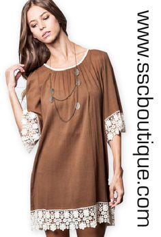 Mocha Lace Hem Dress $37.50!  Our mocha dress embellished with lace trim is the perfect for an evening out! S, M, L! Click the link to order or call the store to purchase (601-427-5282)!!  http://www.sscboutique.com/collections/new-arrivals/products/mocha-lace-hem-dress  #mocha #crochet#lace #dress