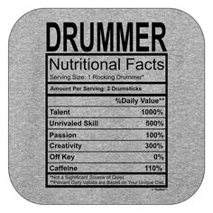 Drummer Gift Nutritional facts Mens T-Shirt: Clothing Marching Band Shirts, Marching Band Humor, Band Mom, Band Nerd, Drummer Quotes, Drummer Gifts, Drums Art, Band Jokes, Drumline
