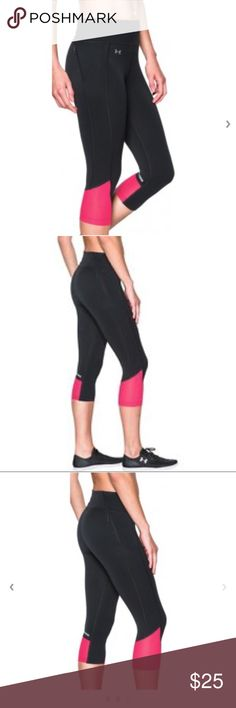 🔥SALE!🔥 UA Fly By 2.0 3/4 Capri Running Tights Under Armour have equipped these Under Armour Women's Fly By 2.0 3/4 Capri Tights with a muscle-boosting compression fit, and strategic stretch mesh leg panels that shed excess heat as you get going.  Incredibly light HeatGear® fabric delivers superior coverage without weighing you down. Signature Moisture Transport System wicks sweat to keep you dry & light. Lightweight, 4-way stretch construction improves mobility & maintains shape…