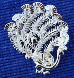 Vintage DANECRAFT Silver Peacock Pin