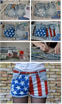 Proud to be an American, not just on 4th of July!  stickers placed on shorts ,then paint over with blue...and remove stickers,paint them white worked better for me.  These turned out GREAT!!!