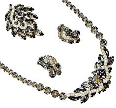 Weiss Rhinestone Jewelry Set Black Diamonds by EclecticVintager