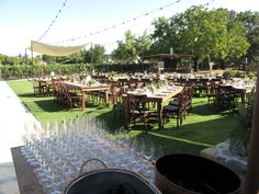 Dinner reception on the Farmstead at Long Meadow Ranch lawn