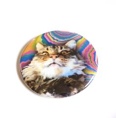 Creepy Funny Cat Psychedelic Pinback Button OR Magnet by MAGICbyAnnaPanda, $3.00