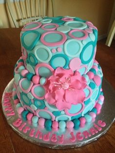 Teal/Pink Cake
