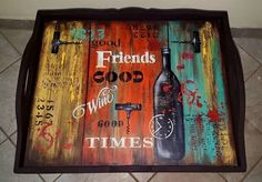 Vintage Country, Vintage Wood, Coffee Tray, Paisley Art, Wood Crates, Tray Decor, Diy Organization, Wood Grain, Painting On Wood
